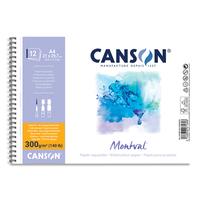CANSON Album spiralé 12 feuilles papier aquarelle MONTVAL, A4, 300G, grain fin Blanc naturel