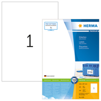 weiß 8720 1 Etikett pro Blatt 1000 Klebeetiketten DIN A4 210 x 297 mm