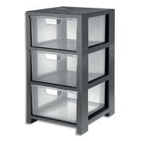 CEP Tour de rangement Gris transparent, 3 tiroirs - Dimensions : L32,5 x H59,5 x P35 cm