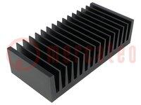 Hűtő: extrudált; bordás; fekete; L:75mm; W:160mm; H:40mm; alumínium