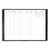 Agenda Eco 12 mois août à juillet 1 semaine sur 2 pages avec notes, format 16x24 cm couverture PVC Noire