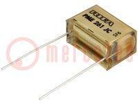 Condensador: de papel; 100nF; 500VCA; Ráster:20,3mm; ±10%; THT