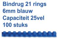 BINDRUG GBC 6MM 21RINGS A4 BLAUW