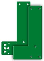 Montageplatte an Glasrahmen, für lange Türschilder, grün
