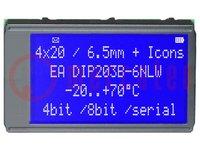 Kijelző: LCD; alfanumerikus; STN Positive; 20x4; kék; LED; PIN:24