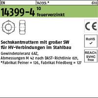 EN 14399 -4 10 Z M 36 Sechskantmutter, tZn, K1, -P- tZn VE=S (1 Stück)