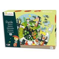 Puzzle 40 pièces, dimaètre 45 cm, thème Les saisons. A partir de 5 ans.