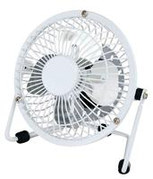5 Star Facilities Desk Fan 4 Inch with Tilt USB 2.0 Interface 180deg Adjustable H145mm w/Cable 1m White