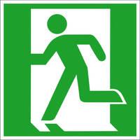 Notausgang links Safety Marking Rettungsschild, Folie selbstklebend, 15,0x15,0cm DIN EN ISO 7010 E001 ASR A1.3 E001