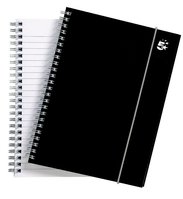 5 Star Office Notebook Wirebound Polypropylene Elasticated 80gsm A5 Black [Pack 6]