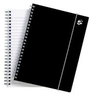 5 Star Office Notebook Wirebound Polypropylene 80gsm Ruled 160pp A5 Black [Pack 6]