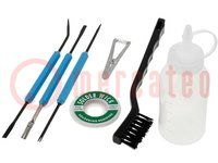 Készlet: kaparók és tisztítókefék; db:7; 180mm
