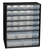 Raaco Cabinet 30-Drawer Steel Frame Wall Mount or Free Stand Stop Catches on Drawers Black Ref 132084