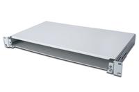 Fiber Optic Sliding Splice Box. 1U 483mm(19') including PG 16 screw. grey RAL 7035