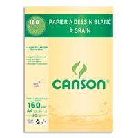CANSON Bloc papier Dessin Blanc 20 feuilles grand format A4 160g