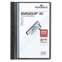 DURABLE Chemise de présentation Duraclip 30 à clip, couverture transparente - 1-30 feuilles A4 - Noir