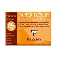 CLAIREFONTAINE Pochette de 12 feuilles papier dessin Blanc 24x32 180g Ref-96175
