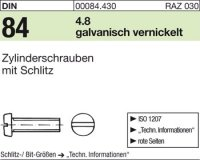 DIN84 M3 x 12 mm Stahl galvanisch vernickelt 4.8