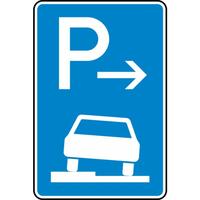 Modellbeispiel: VZ Nr. 315-51, Parken halb auf Gehwegen in, Fahrtrichtung links (Anfang)