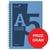 Silvine Notebook Wirebound Polypropylene 60gsm 160pp A5 Assorted Ref POLYA5AC[Pack 5]