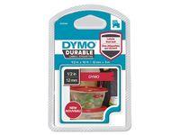 Dymo 1978366 D1 Duurzame labelcassette, wit op rood, 12 mm x 3 m