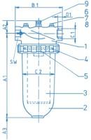 Bosch Rexroth 10DLW180G300-A0V-000-Y0M00 Inline filter