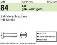 DIN84 M5 x 20 mm Stahl galvanisch verzinkt gelb 4.8
