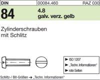 DIN84 M4 x 45 mm Stahl galvanisch verzinkt gelb 4.8