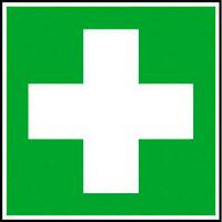 Erste Hilfe Rettungsschild, selbstklebende Folie, Größe 20x20 cm DIN EN ISO 7010 E003 ASR A1.3 E003