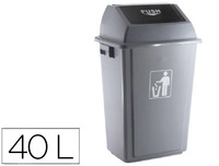 Papelera contenedor q-connect plastico con tapa de balancin 40 litros gris 410x280x610 mm