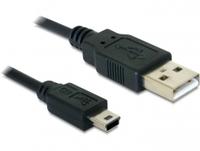 Kabel, USB 2.0 A Stecker an USB mini B Stecker (5 Pin), 1m, Delock® [82273]