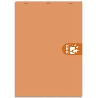 5 ETOILES Bloc agrafé en-tête 160 pages non perforées 80g 5x5 format 8,5x12 Couverture orange