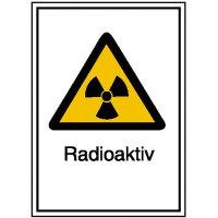 Warnschild / Strahlenschutz Radioaktiv, Alu geprägt, Größe 21,00x29,70 cm