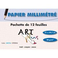 ART PLUS Pochette de 12 feuilles papier millimétré 90g format A4