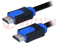 Cable; HDMI 1.4; HDMI plug, both sides; 15m; blue, black