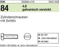 DIN84 M2,5 x 10 mm Stahl galvanisch verzinkt 4.8
