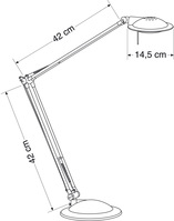 Tischleuchte GY6,35, 230/12 Volt, 50 Watt, silber/anthrazit