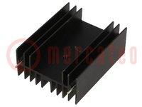 Koellichaam: geperst; TO220,TO247; zwart; L:50mm; W:40mm; H:20mm
