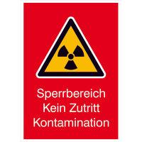 Strahlenschutz Sperrbereich Kein Zutritt Kontamination Warnschild,14,8x21cm