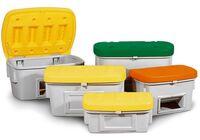 Streugutbehälter SB 200, Polyethylen, 200 l, Deckel gelb, Gruppenbild