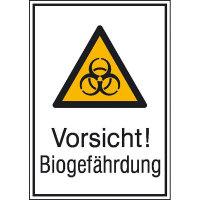 Vorsicht! Biogefährdung Warnschild, selbstkl. Folie, Größe 13,10x18,50cm DIN EN ISO 7010 W009 + Zusatztext ASR A1.3 W009 + Zusazttext