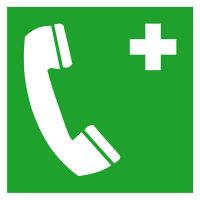 Notruftelefon Safety Marking Rettungsschild, Folie selbstklebend, 15,0x15,0 cm DIN EN ISO 7010 E004 ASR A1.3 E004
