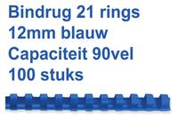 BINDRUG GBC 12MM 21RINGS A4 BLAUW