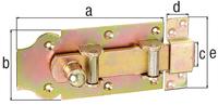 Rollenriegel, mit Knopf, gerade, mit Schlaufe, gelb verzinkt,Platte LxB160x80 mm