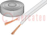 Vezeték: hangszóróvezeték; 2x2,5mm2; sodrat; OFC; fehér; 50m