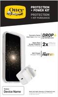 OtterBox Protection + Power Kit Apple iPhone 12 Pro Max (Symmetry Clear / Alpha Glass / UK USB-C Wall Charger 20W - Wit) - beschermhoesje + Gehard glazen screenpRedector + Ladeg...