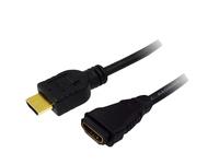 Verlängerungskabel HDMI-High-Speed 1.4 mit Ethernet, A Stecker an A Buchse, vergoldete Kontakte, schwarz, 1,5m, LogiLink® [CH0060]