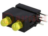 LED; házban; sárga; 3mm; Dióda szám:2; 20mA; Lencse: szórt, sárga