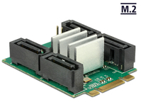 Konverter M.2 Key B+M Stecker an Hybrid 4x SATA 7 Pin Stecker mit RAID, Delock® [62850]