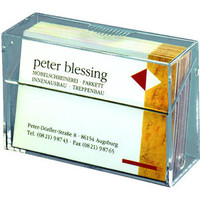 max. 97x85 mm für bis zu 50 Karten glasklar Sigel® Visitenkarten-Aufsteller